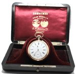 Rare Longines in 18k Gold with Magnificent Original Case and Certificate, ca.1899