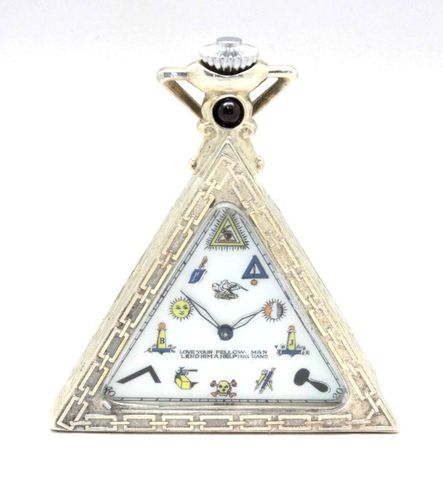SOLD---SOLVIL. AN UNUSUAL SILVER TRIANGULAR MASONIC WATCH